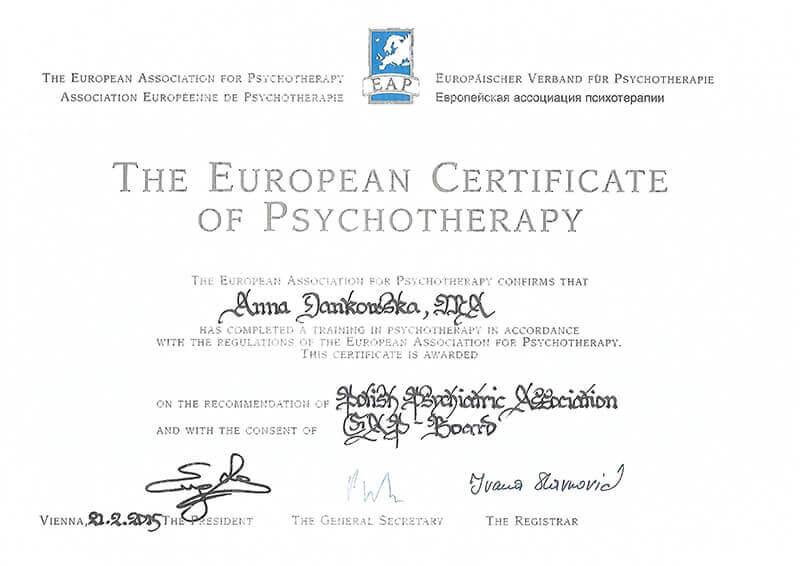 Certyfikaty - mgr Anna Dankowska - Klinika Mazana