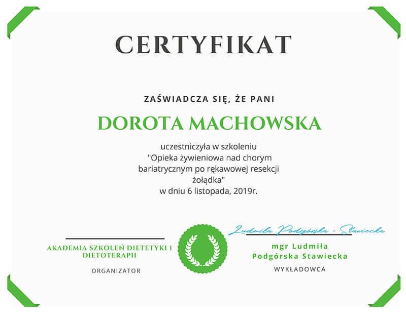 Certyfikaty - mgr Dorota Machowska - Klinika Mazana
