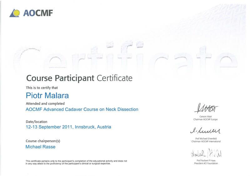 Certyfikaty - Dr hab. n. med. Piotr Malara - Klinika Mazana