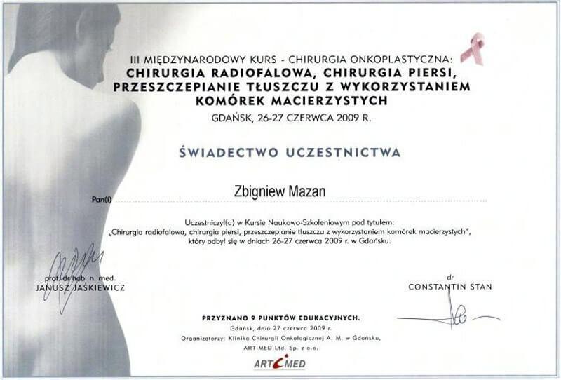 Certyfikat dla Zbigniewa Mazana - Klinika Mazana